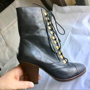 Shoes - Black Leather Lace Up Boots